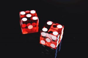 dice on black background